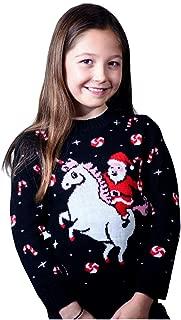 Girls' Santa Riding Unicorn Ugly Christmas Sweater Toddler Xmas Toddler Sweater