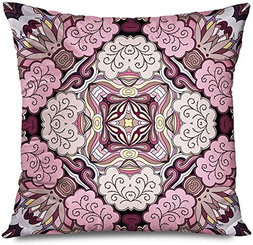 New-WWorld-Shop Kissenbezug Quadratisch Rosa Maßwerk Bunt Muster Teppich Abstrakt Arabisch Zirkular Kolonial Handwerk Dahlie Tulpe Gänseblümchen Kissenbezug Kissenbezug