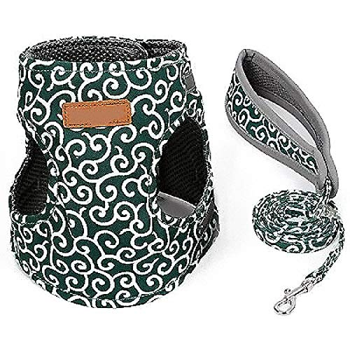 SECRET DESK Puppy Collars for Litter - Puppy Litter Collars, Cat Vest Harness Leash, Set Kitten Puppy Dogs Harness, Leads Breathable Pet Jacket Clothes for Small Dogs Collar Cat Leash Set (XS, Green)