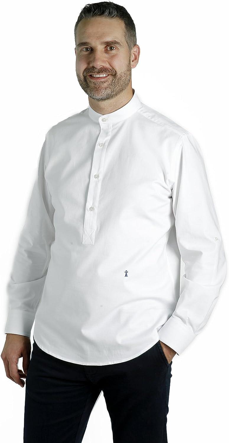 Camisa Blanca Cuello Mao (M): Amazon.es: Ropa