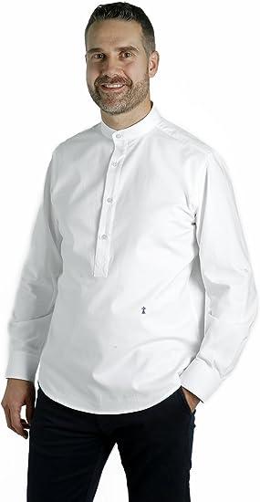 Camisa Polera Blanca Elegante con Cuello Mao para Hombre