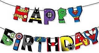koobets Superhero Theme Happy Birthday Banner for Birthday Party Decorations