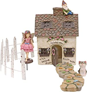 Fairy Garden House Kit, with Miniature Gnome, Fence, Cat, Pathway (Mystic Cottage 5 Piece Set)