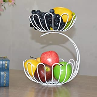 SLH Fruit Platter Living Room Moda de dos pisos, Lotus Flower Shape Simple Modern Fruit Fruit Household Frutero (Color : White)