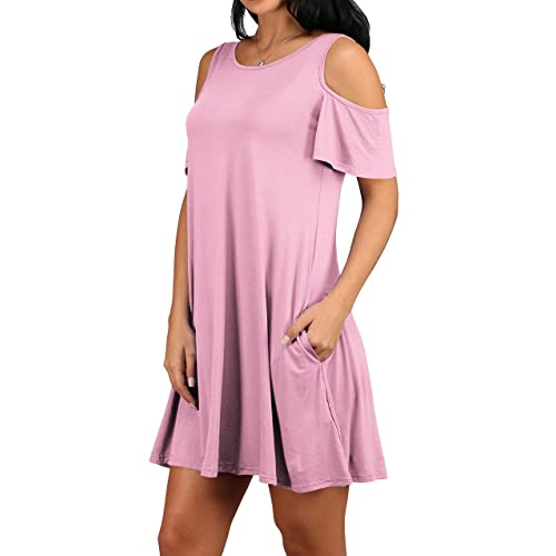 fe83a715bc5 OFEEFAN Women s Cold Shoulder Tunic Top T-Shirt Swing Dress with Pockets