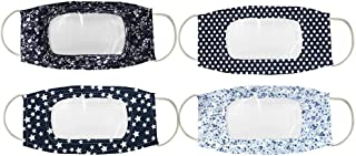 4 Pcs Reusable Anti Dust Unisex Mouth Face Bandanas, with Clear Window Visible Expression for The Deaf and Hard of Hearing