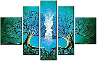 FLY SPRAY Oil Paintings Modern Abstract Canvas Wall Art 5 Panels Framed Artwork Lover Couple Kiss Flora Human Tree Living Room Bedroom Office Home Decor Cyan Blue
