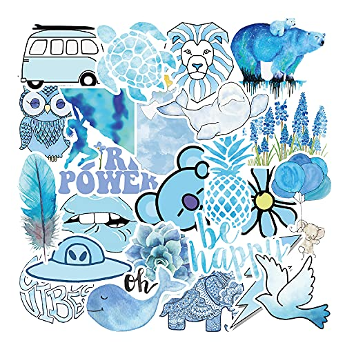 Pegatinas para Niños 50 Piezas, Azul Pegatinas Lindas, Calcomanías Vinilos VSCO Kawaii PVC Stickers para Coche, Bicicleta, Moto,...