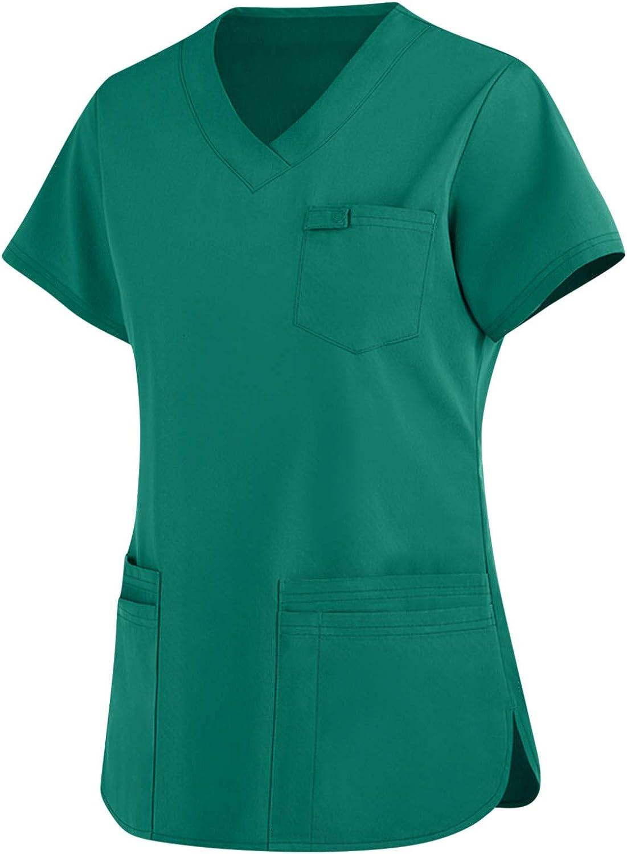 Women's Nurse Working Uniform Tops Women Fashion Short Sleeve V-Neck Pocket Care Workers T-Shirt Blouse Tops