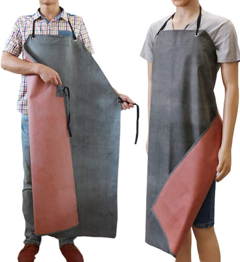 Rubber Apron Waterproof Aprons Chemical Oil Resistant Aprons for Dishwashing, Cleaning Fish, Gardening, Lab Work, Butcher and Dog Grooming