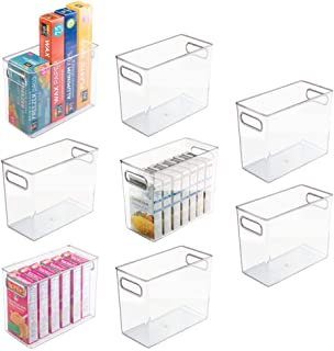 mDesign Tall Plastic Kitchen Pantry Cabinet, Refrigerator or Freezer Food Storage Bin with Handles - Organizer for Fruit, ...