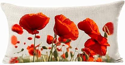 Enchanting Beautiful Red Poppy Flowers Garden Gift Anniversary Day Present Cotton Linen Waist Lumbar Pillow Case Cushion C...