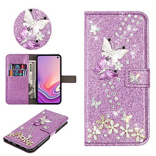 SEEYA Hülle Glitzer für Samsung Galaxy S20 FE, PU Leder Handyhülle Lila Glänzend Schmetterling Blumen Klapphülle Magnet Brieftasche Schutzhülle Flip Cover Tasche für Samsung Galaxy S20 Lite