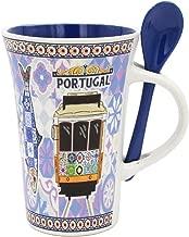 Portuguese Ceramic Coffee Mug with Spoon Souvenir from Portugal