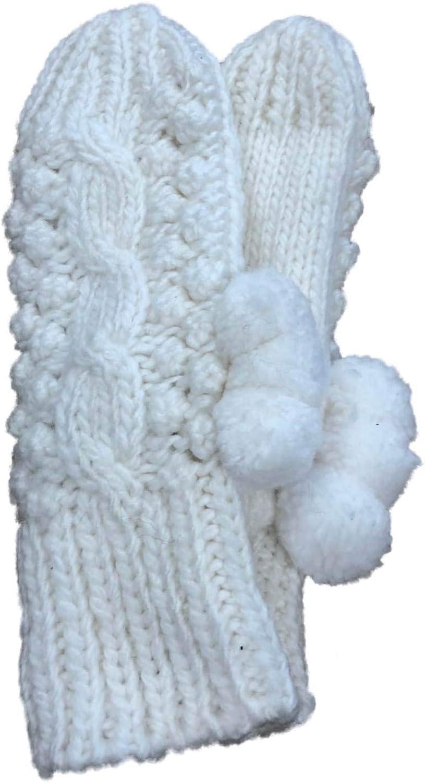 Womens Lumpy Ivory White Knit Pom Pom Winter Mittens