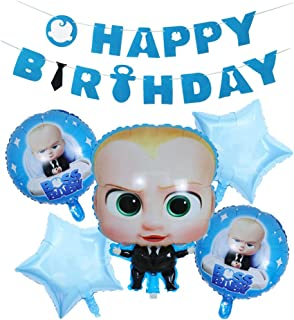 Bsstr baby boss Party Supplies Decorations Set,Soft felt Banner and 5 pcs baby boss Balloons, Baby Shower Birthday Party Decorations