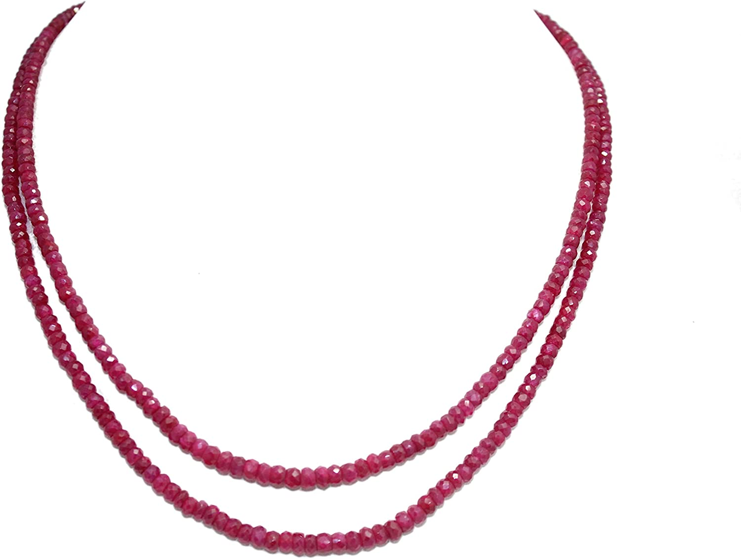Rajasthan Gems String Strand Necklace Red Ruby oval Cut beads treated stones 2 line P 512