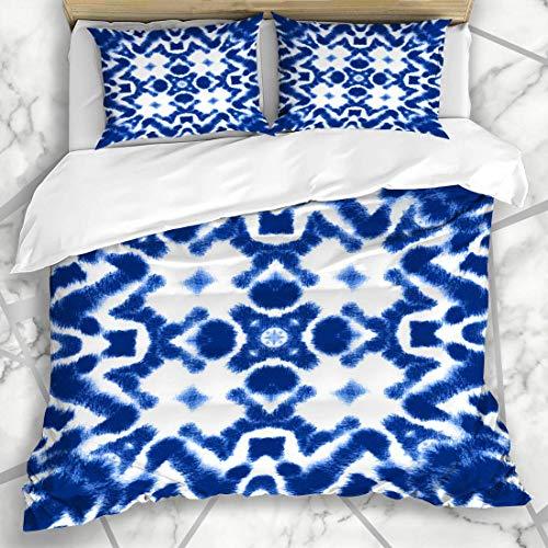 Bettbezug-Sets Farbe Hand für Seide lackiertes Material Zusammenfassung Aquarell Shibori Texturen Lebendige Verzierung Bekleidung Weiche Mikrofaser Dekoratives Schlafzimmer mit 2 Kissen Shams