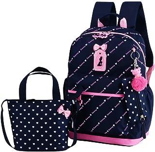 3Pcs Heart Printing Backpack Sets Bowknot Primary Schoolbag Travel Daypack Shoulder Bag Pencil Case