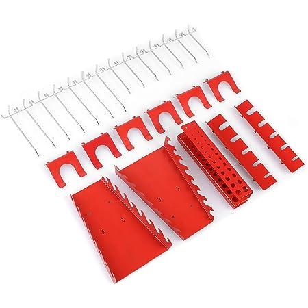 FIXKIT Tool Wall Juego de Ganchos Metálicos de 25 Piezas Taller Soporte para Dispositivos Pesados Gancho para pared Perforada - Juego de Ganchos de Montaje para Portaherramientas