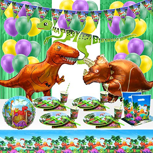 Dinosaur Birthday Party Supplies All-in-one Dino Themed Party Decorations Set for Kid's Birthdays Including Banners, Flags, Tablecover,Balloons,Curtains, Disposable Dinnerware Set-Serves 16