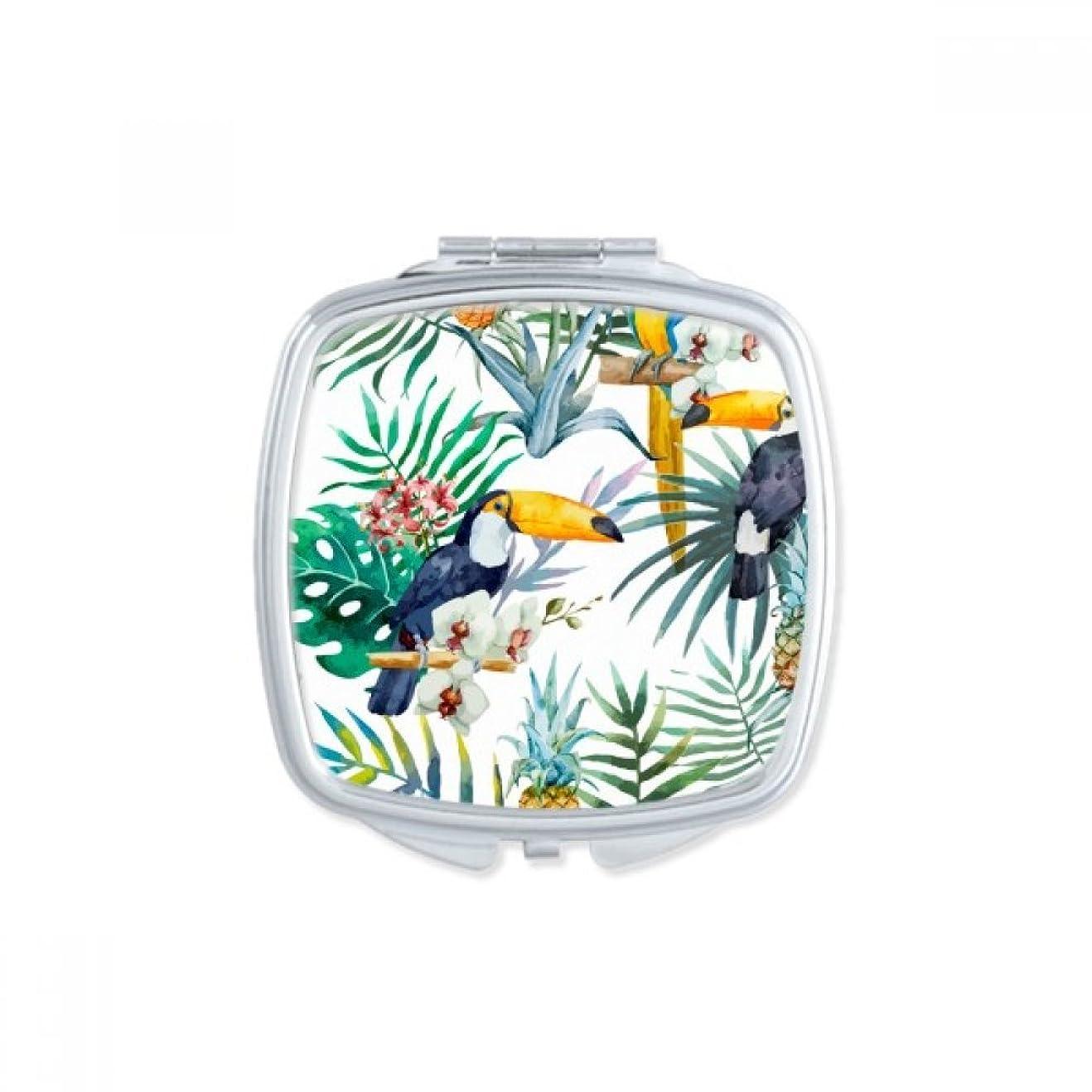 セットアップ案件話す水彩画のオオハシの低木のパイナップルのオウム スクエアコンパクトメークアップポケットミラー携帯用の小さなかわいいハンドミラープレゼント