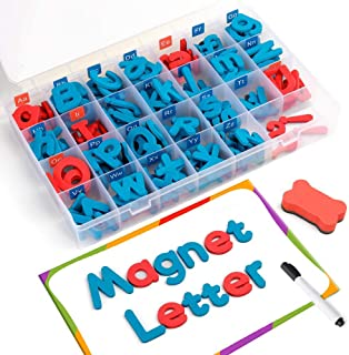 Magnetic Letters 208 Pcs with Magnetic Board and Storage Box - Foam Alphabet Letters,Educational Toy Set for Kids Spelling and Learning