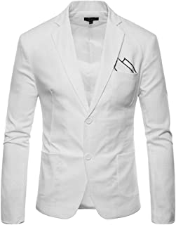 cdd0bc86 INVACHI Slim Fit Mens Casual Linen Two-Button Blazer Jacket Suit Jacket