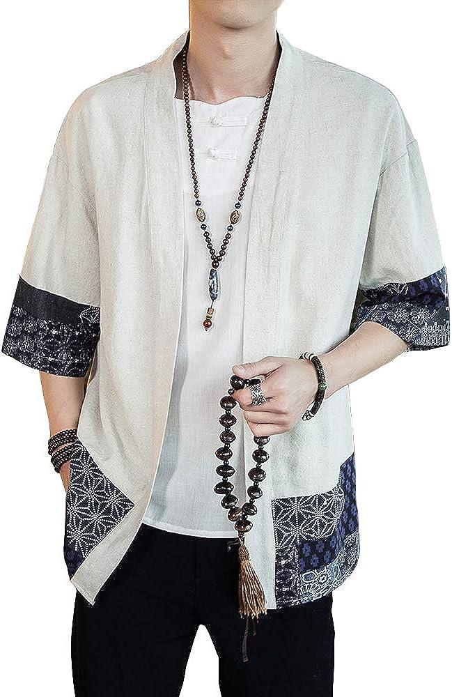 HAORUN Men Japanese Short Sleeve Kimono Cardigan Coat Loose Jacket Top