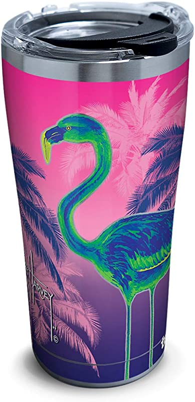 Tervis 1318078 Guy Harvey Neon Flamingo Stainless Steel Insulated Tumbler With Lid 20 Oz Silver