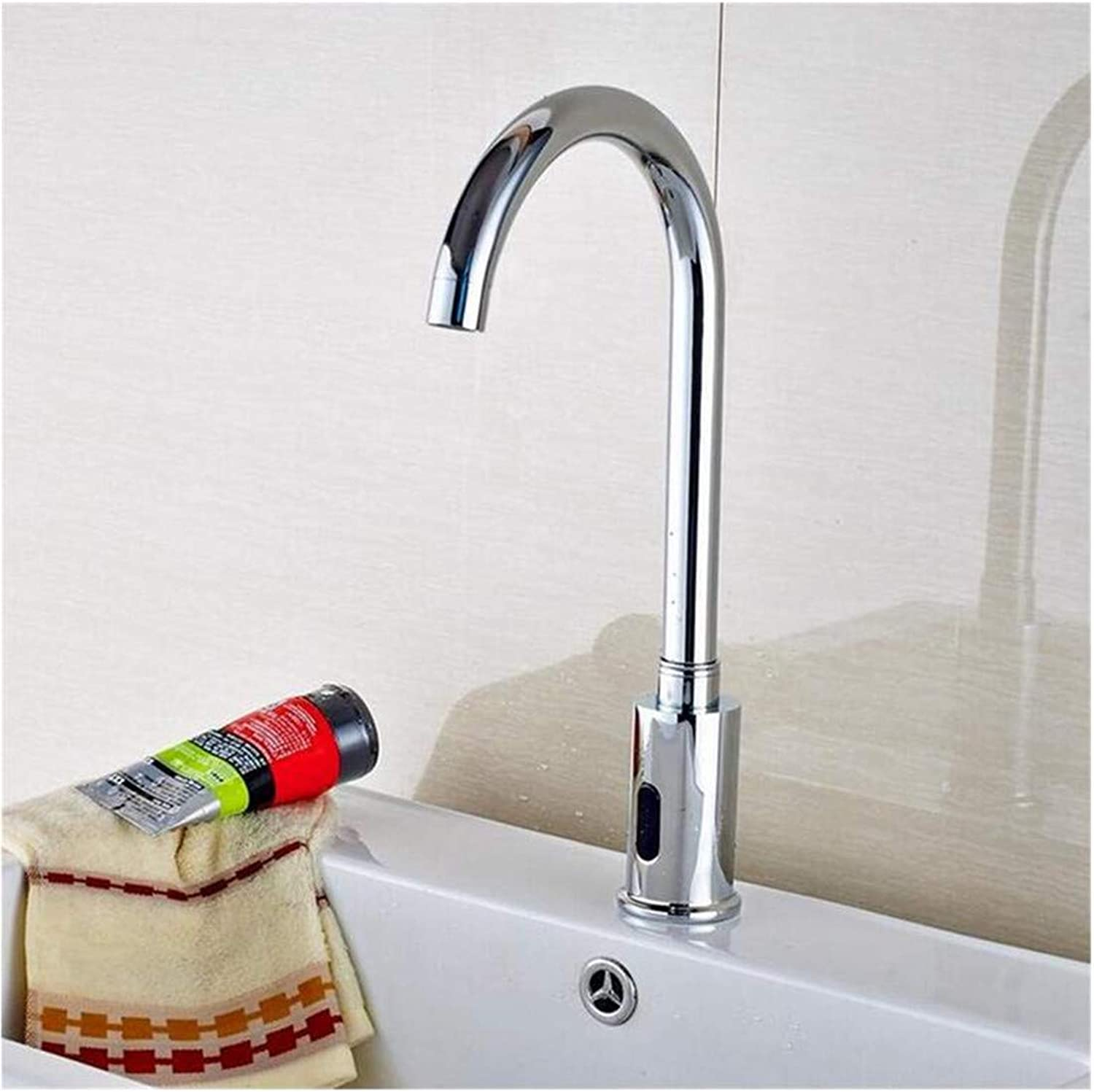 Stainless Steel Vintage Brass Faucet Polished Chrome Bathroom Touchless Cold Tap