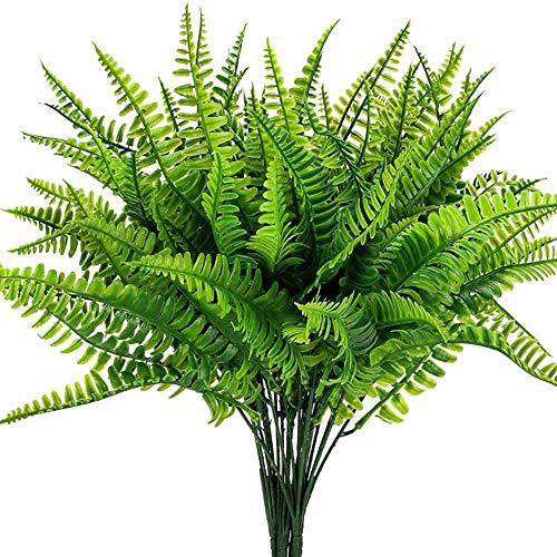 Godob - 4 plantas artificiales de plástico para helechos de Boston, para decoración de casa, jardín, oficina, etc.