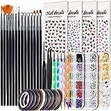 Nail Art Brush, Nail Dotting Tools, Teenitor Nail Art Supplies, Nail Design Tools Kit with Butterfly Nail Art Stickers, Nail Art Rhinestones, Nail Foil Flakes, Nail Art Tapes
