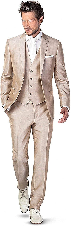 Men's 3 Piece Champagne Suit Set Classic Formal Tuxedo Suit Slim Fit