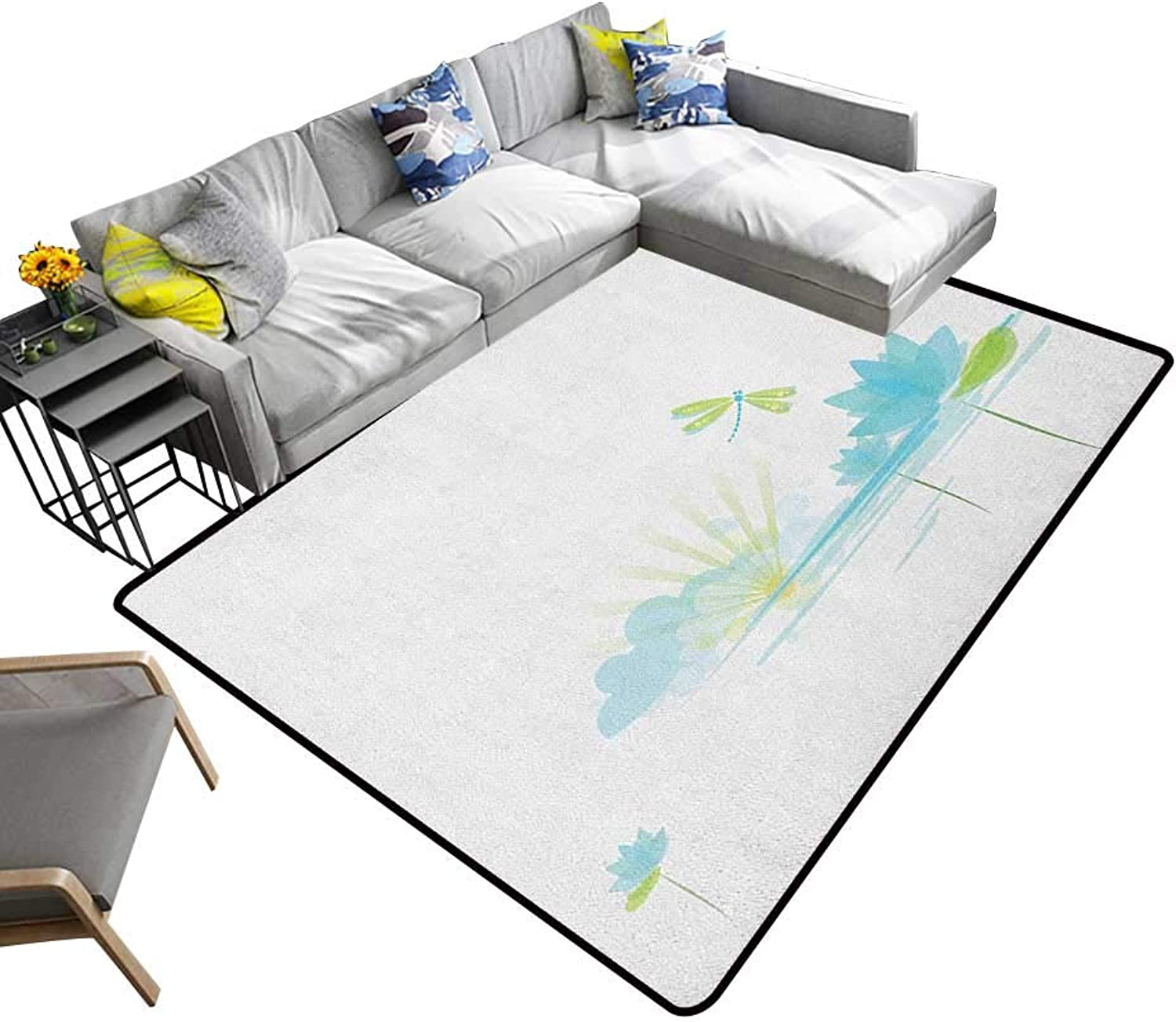 Dragonfly Non-Slip Floor mat Waterlily and Dragonfly Nature Background Clouds Lake Sun Design 70 x110 ,Can be Used for Floor Decoration