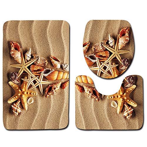 LIZHIOO Ocean Beach 3D Printed Anti Slip Badezimmer Pedestal Rug + Deckel WC-Abdeckung + Badematte for Hauptdekoration (Color : 2)