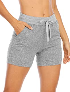 Uoohal Women's High Waist Athletic Shorts Drawstring Workout Yoga Running Active Jogger Short with Pockets