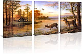 Dusk Rustic Deer Cabin Wall Art Decor Wildlife Landscape Canvas Print Picture 3 Panels Framed Country Family Living Room Bedroom Home Wall Decoration