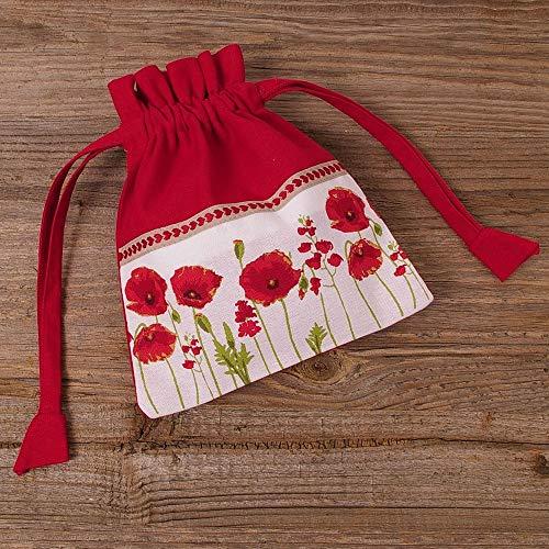 matches21 Stoff Beutel zum Binden Geschenkbeutel Kräuterbeutel Landhaus Premium Marie rot & Mohn Blumen Bordüre 18x22 cm 1 STK