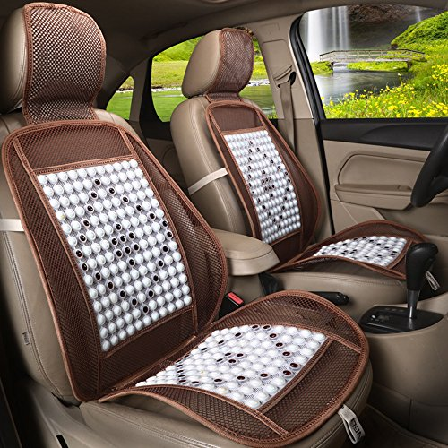 CYOUZHE voorstoel auto stoel algemene vier seizoenen auto interieur kussen, bescherming apparaat auto stoel massage taille ademende gevoerde mesh kussen (2 Stks), wit