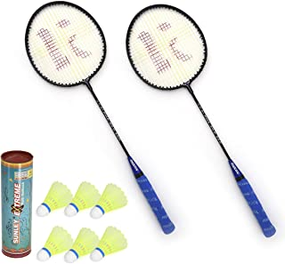 SUNLEY Alpha Set of 2 Piece Badminton Racket with 6 Piece Nylon Shuttle