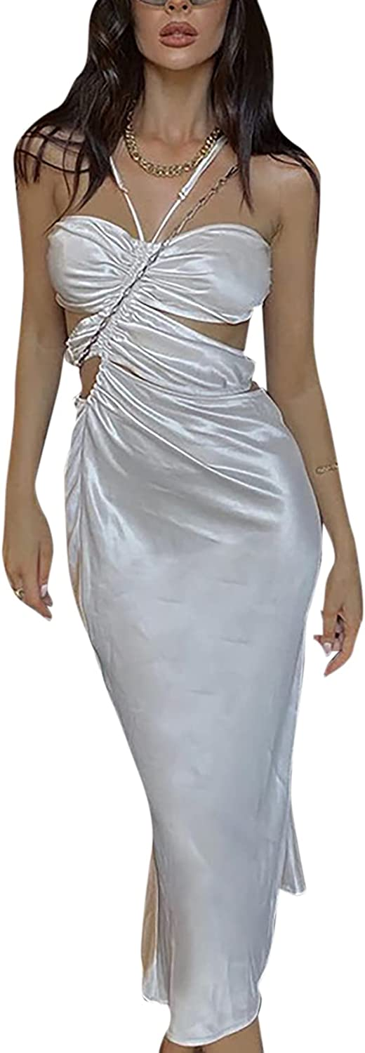 BOLLEY JOSS Women's Sexy Dress Cute Out Silk Satin Midi Dresses Halter Neck Ruched Maxi Dress Cocktail Party Y2K Clubwear