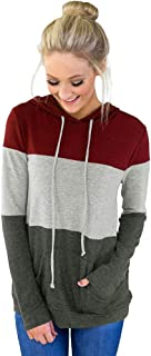 cosy Women's Color Block Lightweight Long Sleeve Pullover Hooded Sweatshirt