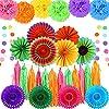 Auihiay 32ピース フィエスタパーティーデコレーション ペーパーファン ティッシュペーパーポンポン サークルドットガーランド ティッシュペーパータッセル 誕生日パーティー ウェディング装飾 タコスパーティー メキシコパーティー用