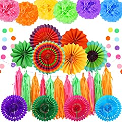 Variety: 6 x paper fans(3 size), 4 x paper hollow fans, 6 x 25cm / 10inch paper pompoms, 15 x tissue paper tassel, 1 x 13ft circle dot garland Material: High quality paper, environmental pure wood pulp, can be used again and again. Brighter colors, t...
