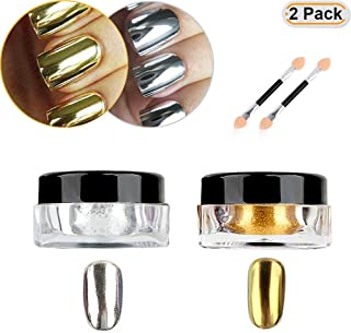Hisight 2 pcs Nail Art Mirror Glitter Chrome Pigment Powder Dust Nail Sequins Gold Silver colour Nail Art Tools with Spong...