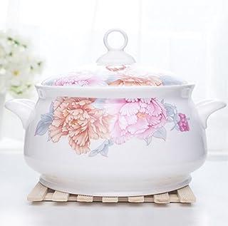 Bone China Tableware Big Soup Pot Soup Basin with Cover Soup Bowl ( Color : 2.3L )