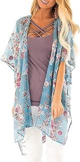 Holzkary Ladies Fashion Boho Printed Beach Sunscreen Shirt Loose Casual Swimsuit Cover Up Kimono Cardigan Tops