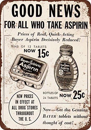 1934Bayer aspirina, diseño Vintage Reproducción Metal Tin Sign 8x 12Pulgadas