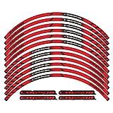 Calcomanías de la decoración del cubo de la rueda de la motocicleta Tire de las láminas de la llanta de la llanta Reflective logo pegatinas (Color : Rojo)